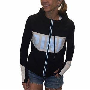 VS Pink Reflective Logo Hooded Zip Up Track Jacket